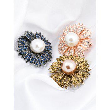 Sparkly Faux Pearl Rhinestone Floral Brooch - BRONZED