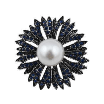Sparkly Faux Pearl Rhinestone Floral Brooch - NAVY BLUE