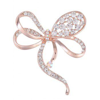 Rhinestone Hollow Out Bowknot Alloy Brooch - ROSE GOLD ROSE GOLD