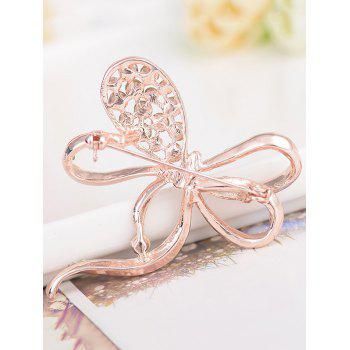 Rhinestone Hollow Out Broche en alliage de bowknot - Or Rose