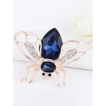 Faux Gem Insert Cicada Shape Alloy Brooch - BLUE