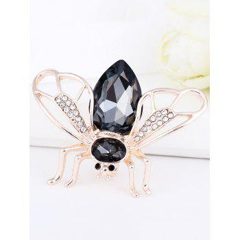 Faux Gem Insert Cicada Shape Alloy Brooch - BLACK BLACK
