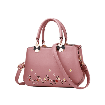 Metal Embroidery Flower Tote Bag -  PINK