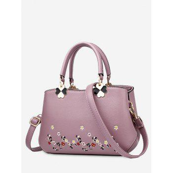 Metal Embroidery Flower Tote Bag - PURPLE PURPLE