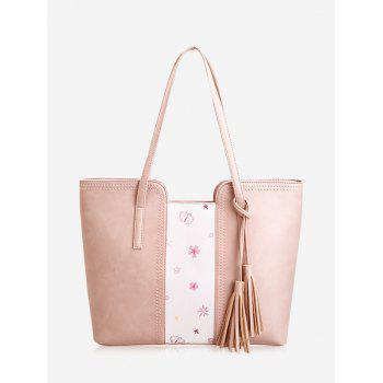Butterfly Flower Print Tassel Shoulder Bag - PINK PINK