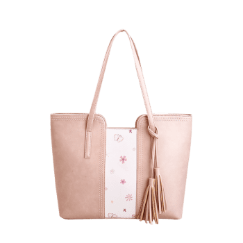 Butterfly Flower Print Tassel Shoulder Bag -  PINK