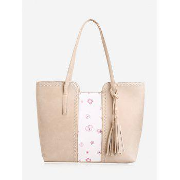 Butterfly Flower Print Tassel Shoulder Bag - BEIGE BEIGE