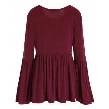 Plus Size Bell Sleeve Dressy T-shirt - WINE RED 5XL