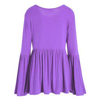 Plus Size Bell Sleeve Dressy T-shirt - PURPLE 4XL