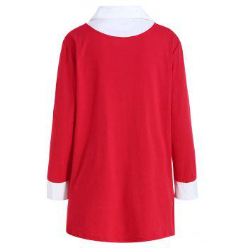 Shirt Collar Plus Size Two Tone Tee - RED 2XL