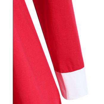 Shirt Collar Plus Size Two Tone Tee - RED 4XL