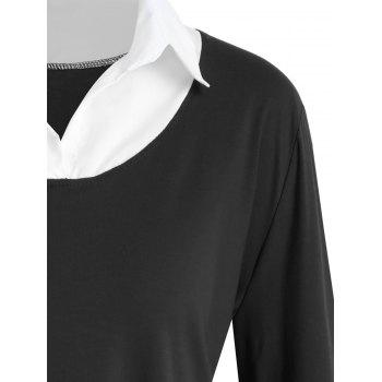 Shirt Collar Plus Size Two Tone Tee - BLACK 4XL