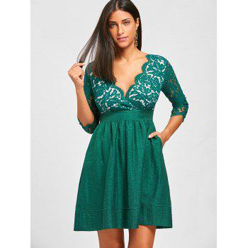 Lace Insert Surplice A Line Dress - GREEN XL