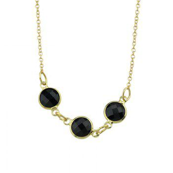 Natural Rhinestone Embellished Charm Nacklace -  BLACK