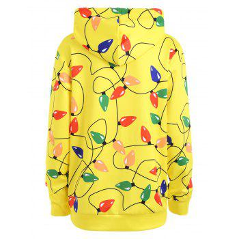 Christmas Light Party Kangaroo Pocket Hoodie - YELLOW L