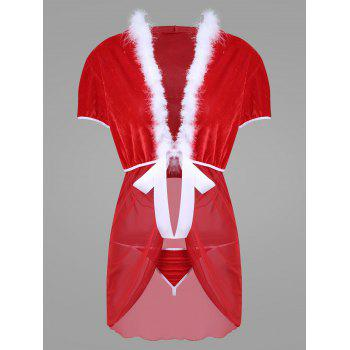 Sheer Mesh Hooded Christmas Dress - RED WITH WHITE RED/WHITE