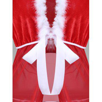 Sheer Mesh Hooded Christmas Dress - RED/WHITE ONE SIZE