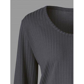 Plus Size Panel Knitted Ribbed Sweater - HEATHER GRAY 4XL