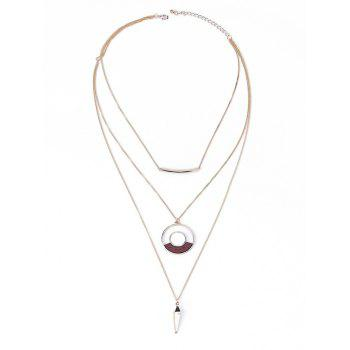 Hollow Out Circle Bullet Layered Necklace - GOLDEN GOLDEN