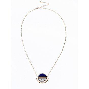 Oval Two-tone Alloy Pendant Necklace - GOLDEN GOLDEN