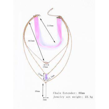 Fake Crystal Coloured Ribbon Layered Necklace - GOLDEN