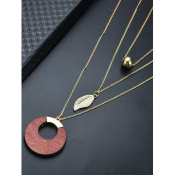 Bead Leaf Layered Wooden Circle Necklace - GOLDEN