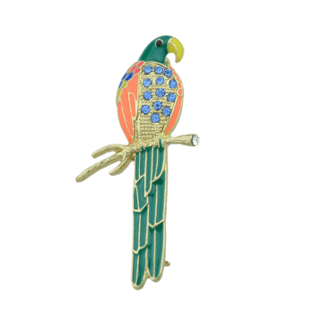 Rhinestone Bird Parrot Branch Brooch - GREEN
