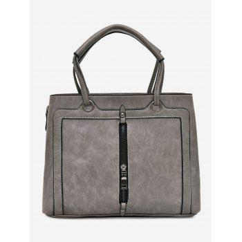 Zipper Detailed PU Leather Tote Bag - GRAY GRAY