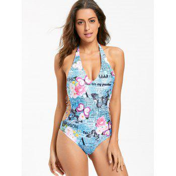 Halter Butterfly Letter Print Swimsuit - COLORMIX XL