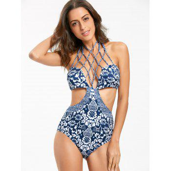 One Piece Strappy Floral Swimsuit - BLUE L