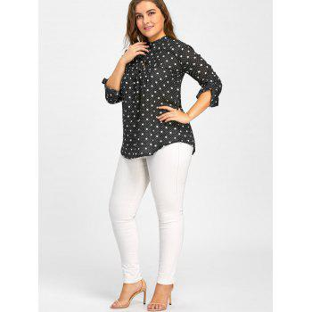 Plus Size Chiffon Polka Dot Button Up Blouse - BLACK 6XL