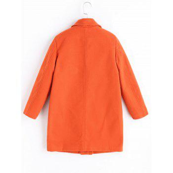 Plus Size Padded Wool Blend Trench Coat - ORANGE RED 3XL