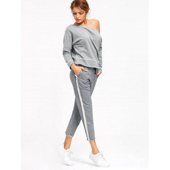 Marled Cropped Sweat Pants - GRAY S