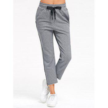 Marled Cropped Sweat Pants - GRAY GRAY