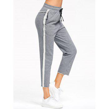 Marled Cropped Sweat Pants - GRAY L
