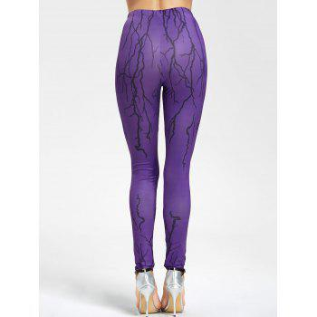 Ugly Halloween Branches Print Leggings - PURPLE PURPLE