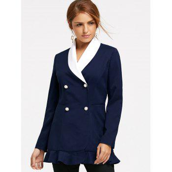 Double Breast Shawl Collar Peplum Blazer - CERULEAN 2XL