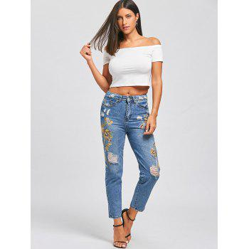 Ripped Floral Embroidered Jeans - S S