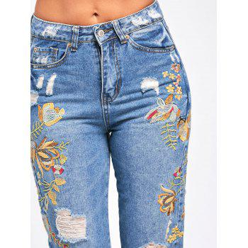 Ripped Floral Embroidered Jeans - LIGHT BLUE S