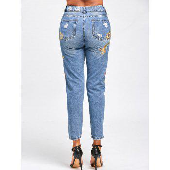 Ripped Floral Embroidered Jeans - M M