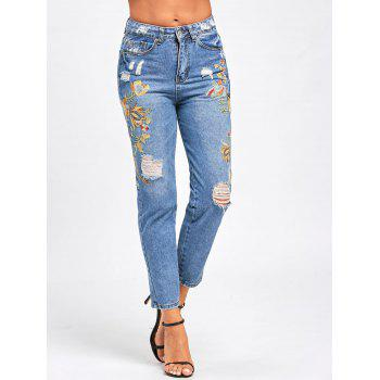 Ripped Floral Embroidered Jeans - LIGHT BLUE M