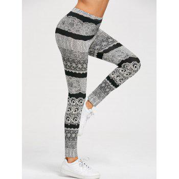 Stretchy Monochrome Active Leggings - BLACK/GREY M