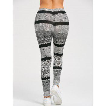 Stretchy Monochrome Active Leggings - BLACK/GREY BLACK/GREY