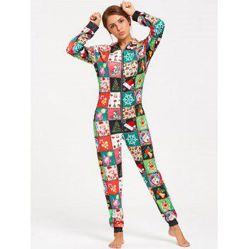 Hooded Christmas One Piece Pajama - COLORMIX COLORMIX