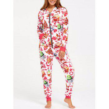 Hooded One Piece Christmas Pajama - COLORMIX L