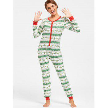 Printed One Piece Christmas Pajama - COLORMIX COLORMIX