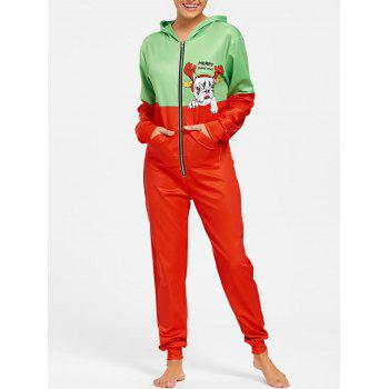 One Piece Hooded Christmas Pajama - COLORMIX COLORMIX
