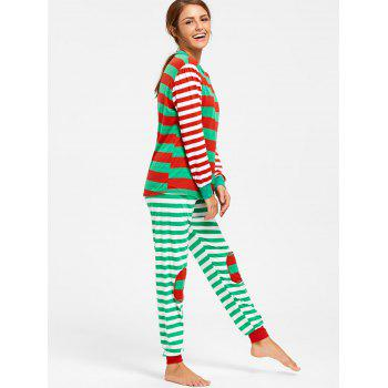Color Block Striped Christmas Pajama Set - COLORMIX COLORMIX