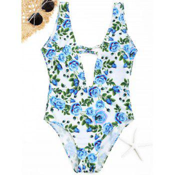 Plunge Floral One Piece Swimwear - CLOUDY S