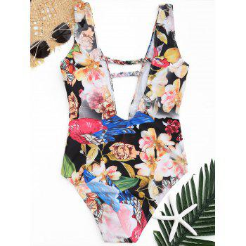 Plunge Floral One Piece Swimwear - COLORMIX S